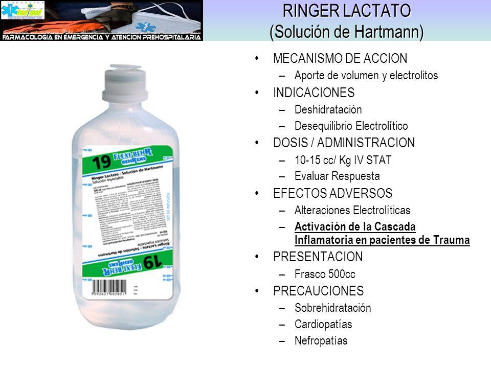 RINGER LACTATO (Solución de Hartmann) MECANISMO DE ACCION –Aporte de volumen y electrolitos INDICACIONES –Deshidratación –Desequilibrio Electrolítico