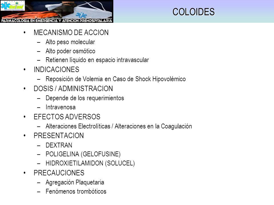 COLOIDES MECANISMO DE ACCION –Alto peso molecular –Alto poder osmótico –Retienen líquido en espacio intravascular INDICACIONES –Reposición de Volemia