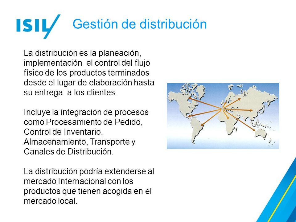 La distribución es la planeación, implementación el control del flujo físico de los productos terminados desde el lugar de elaboración hasta su entrega a los clientes.
