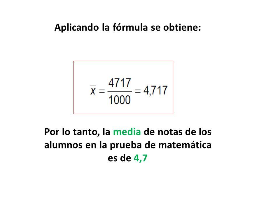 Aplicando la fórmula se obtiene: Por lo tanto, la media de notas de los alumnos en la prueba de matemática es de 4,7