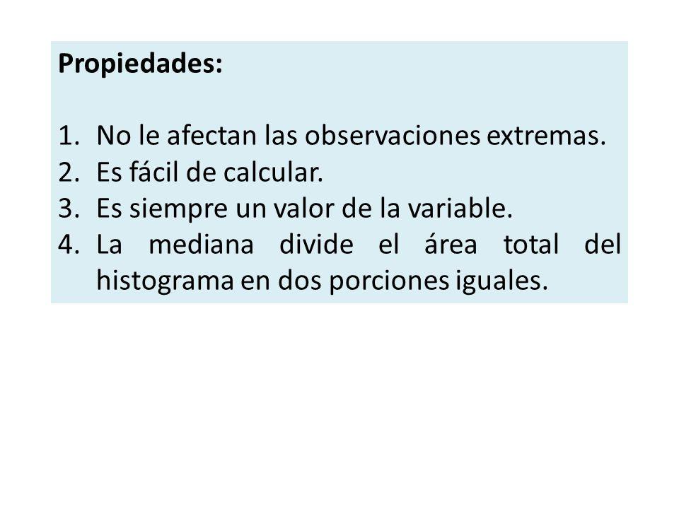 Propiedades: 1.No le afectan las observaciones extremas. 2.Es fácil de calcular. 3.Es siempre un valor de la variable. 4.La mediana divide el área tot
