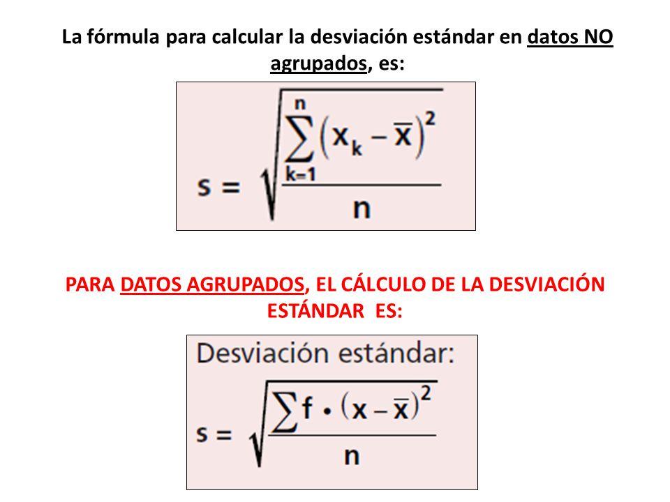 La fórmula para calcular la desviación estándar en datos NO agrupados, es: PARA DATOS AGRUPADOS, EL CÁLCULO DE LA DESVIACIÓN ESTÁNDAR ES:
