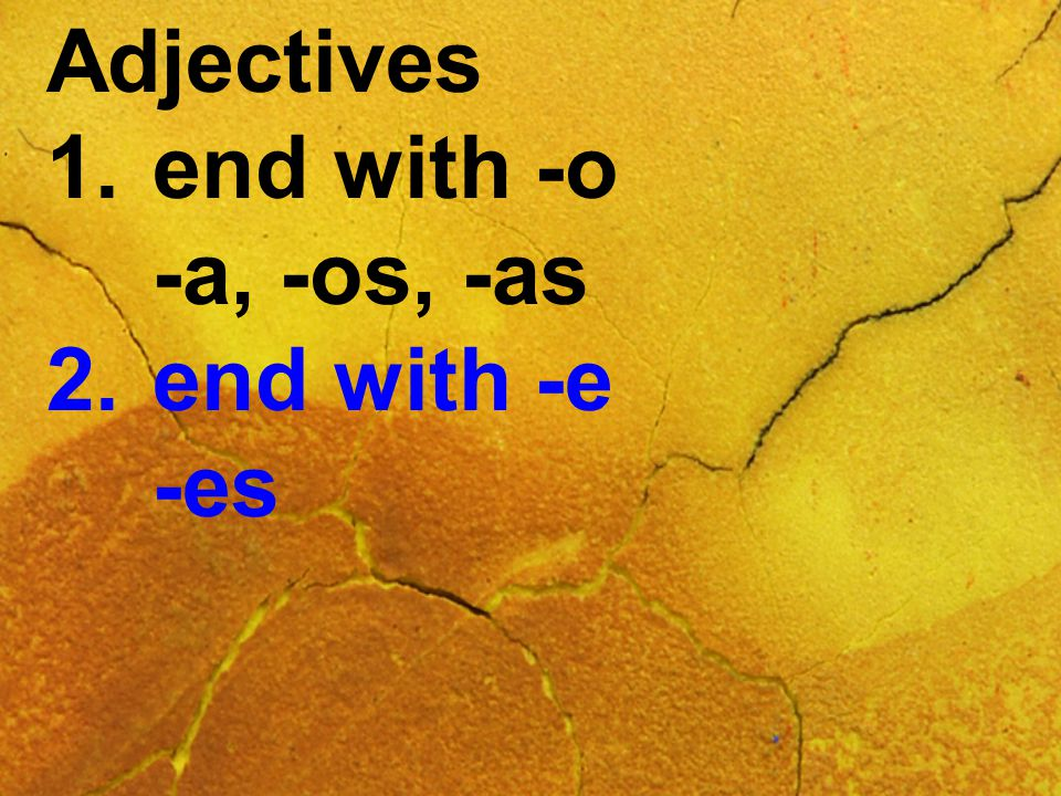 Adjectives 1.end with -o -a, -os, -as 2.end with -e -es