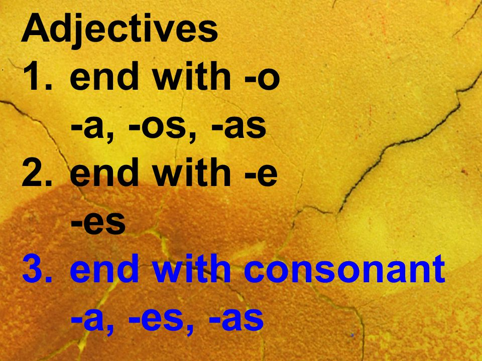 Adjectives 1.end with -o -a, -os, -as 2.end with -e -es 3.end with consonant -a, -es, -as