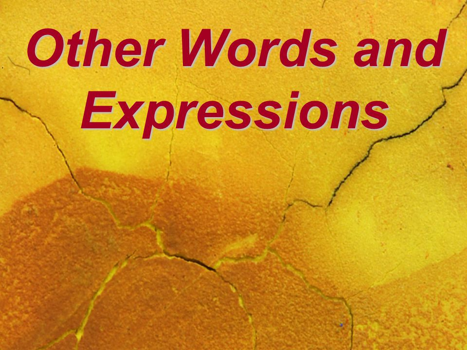 Other Words and Expressions