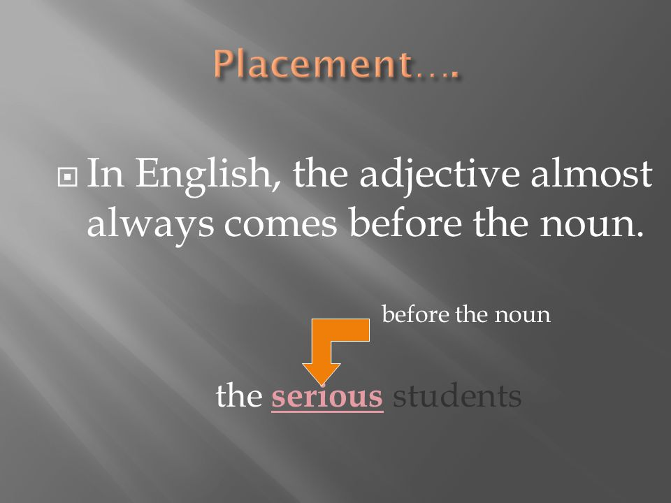  In English, the adjective almost always comes before the noun.