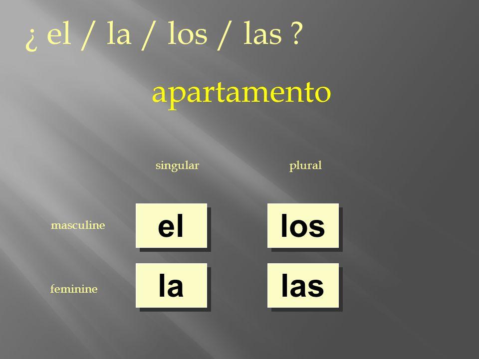 ¿ el / la / los / las apartamento singularplural masculine feminine el la los las