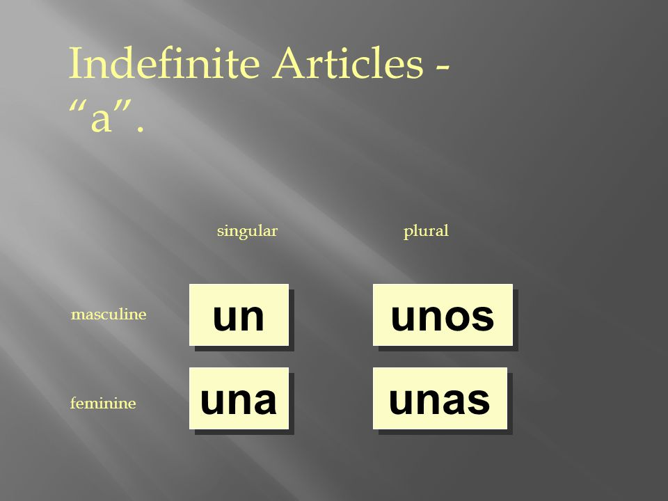 Indefinite Articles - a . singularplural masculine feminine un una unos unas