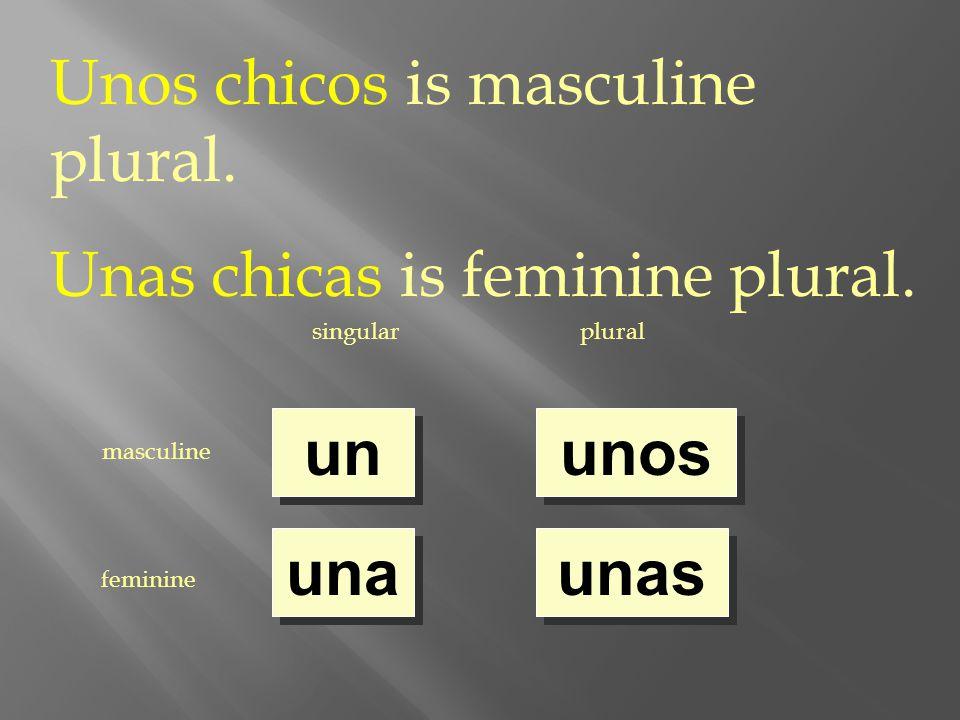 singularplural masculine feminine un una unos unas Unos chicos is masculine plural.