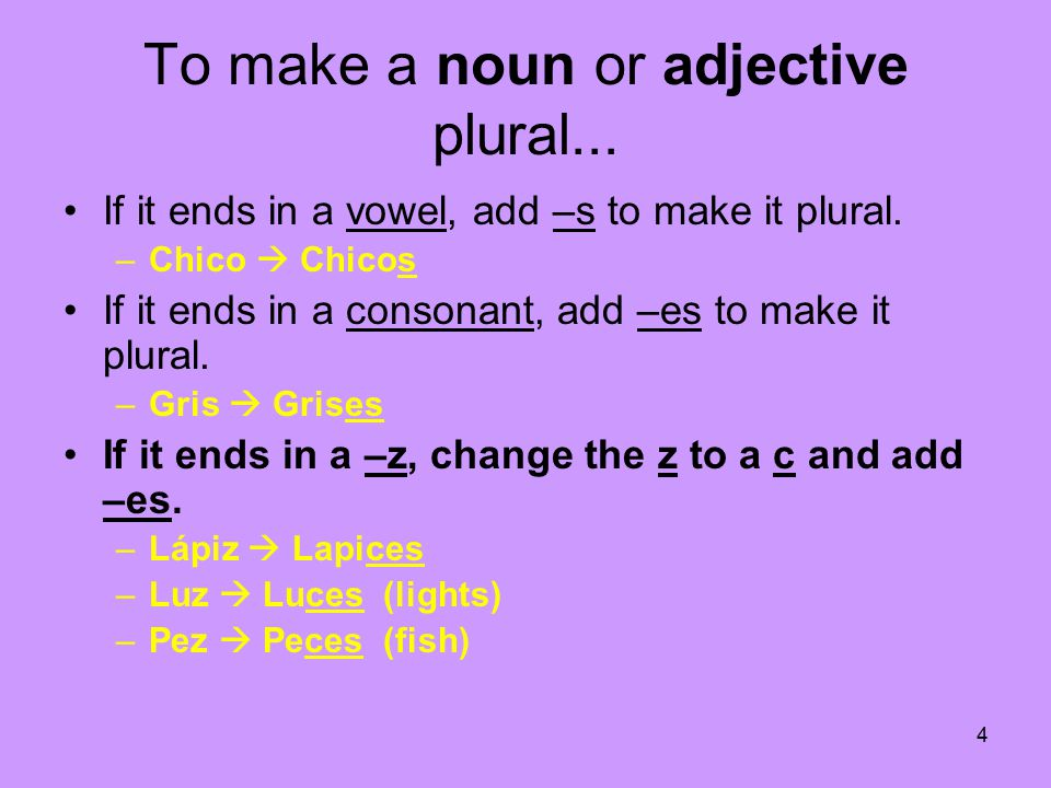 4 To make a noun or adjective plural... If it ends in a vowel, add –s to make it plural.