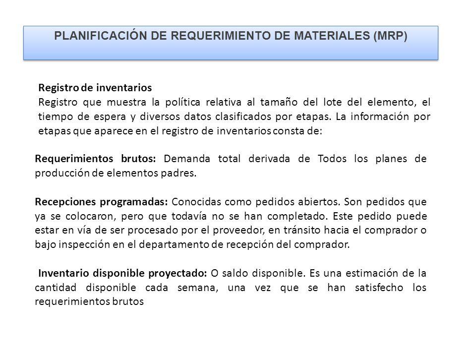 PLANIFICACIÓN DE REQUERIMIENTO DE MATERIALES (MRP) Registro de inventarios Registro que muestra la política relativa al tamaño del lote del elemento, el tiempo de espera y diversos datos clasificados por etapas.