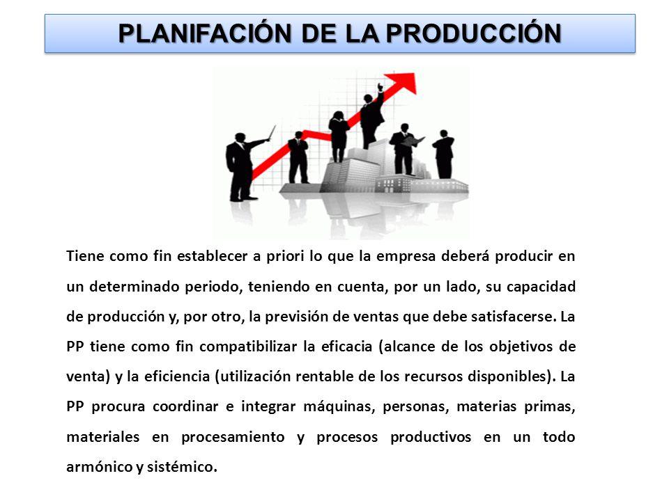 PLANIFACIÓN DE LA PRODUCCIÓN Tiene como fin establecer a priori lo que la empresa deberá producir en un determinado periodo, teniendo en cuenta, por un lado, su capacidad de producción y, por otro, la previsión de ventas que debe satisfacerse.