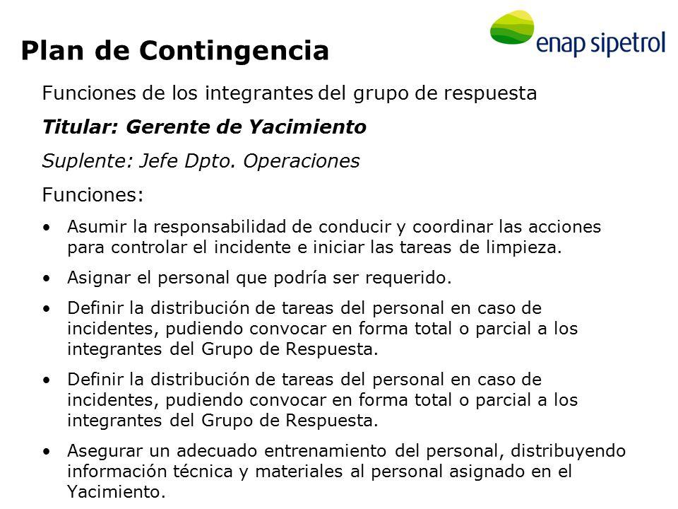 Mantener informada de todas las contingencias categorizadas en este Plan como de CLASE B y C a la Gerencia de ENAP Sipetrol Argentina S.A.