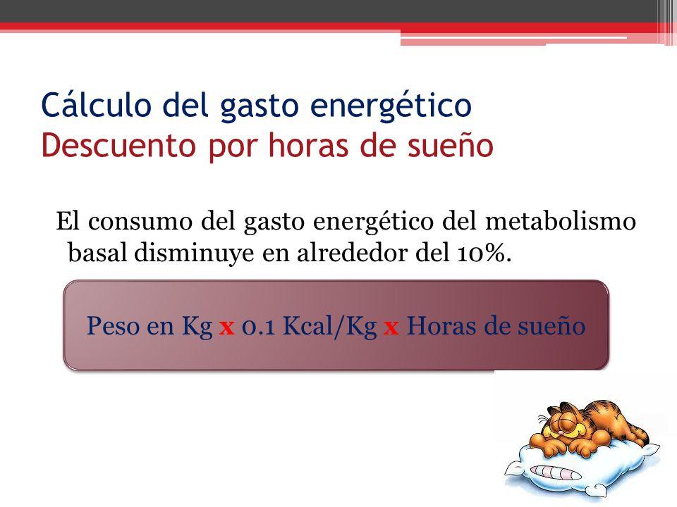 Cálculo del gasto energético Descuento por horas de sueño El consumo del gasto energético del metabolismo basal disminuye en alrededor del 10%. Peso e