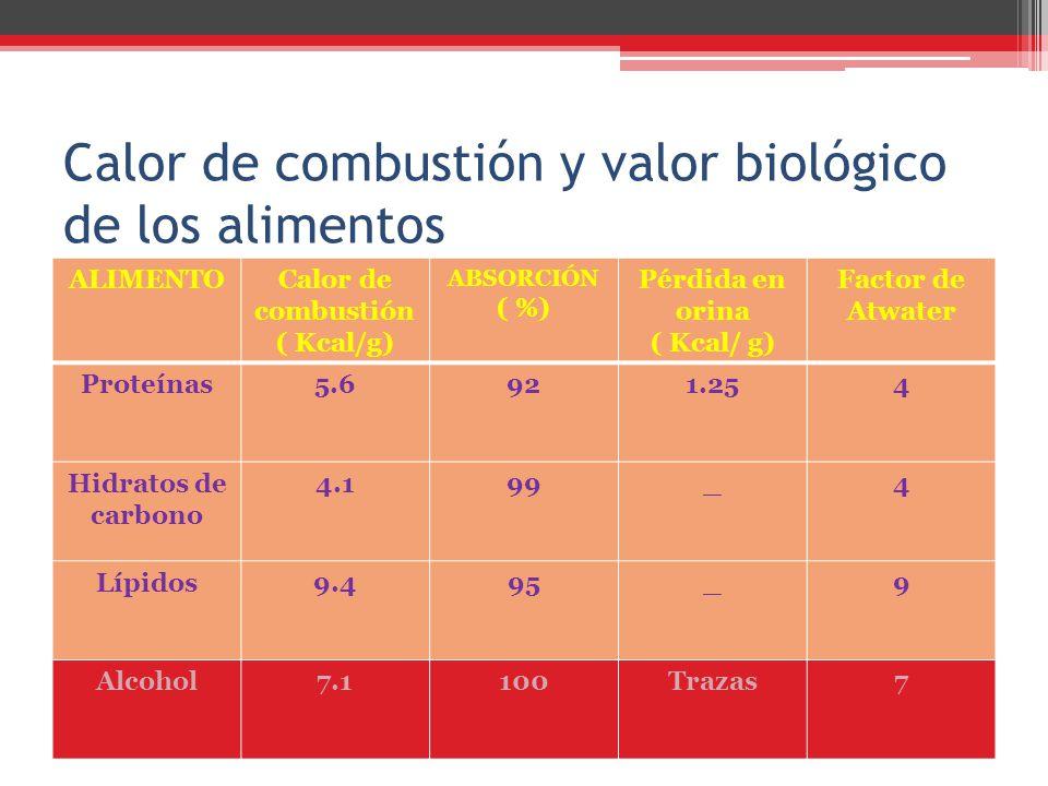 Calor de combustión y valor biológico de los alimentos ALIMENTOCalor de combustión ( Kcal/g) ABSORCIÓN ( %) Pérdida en orina ( Kcal/ g) Factor de Atwa