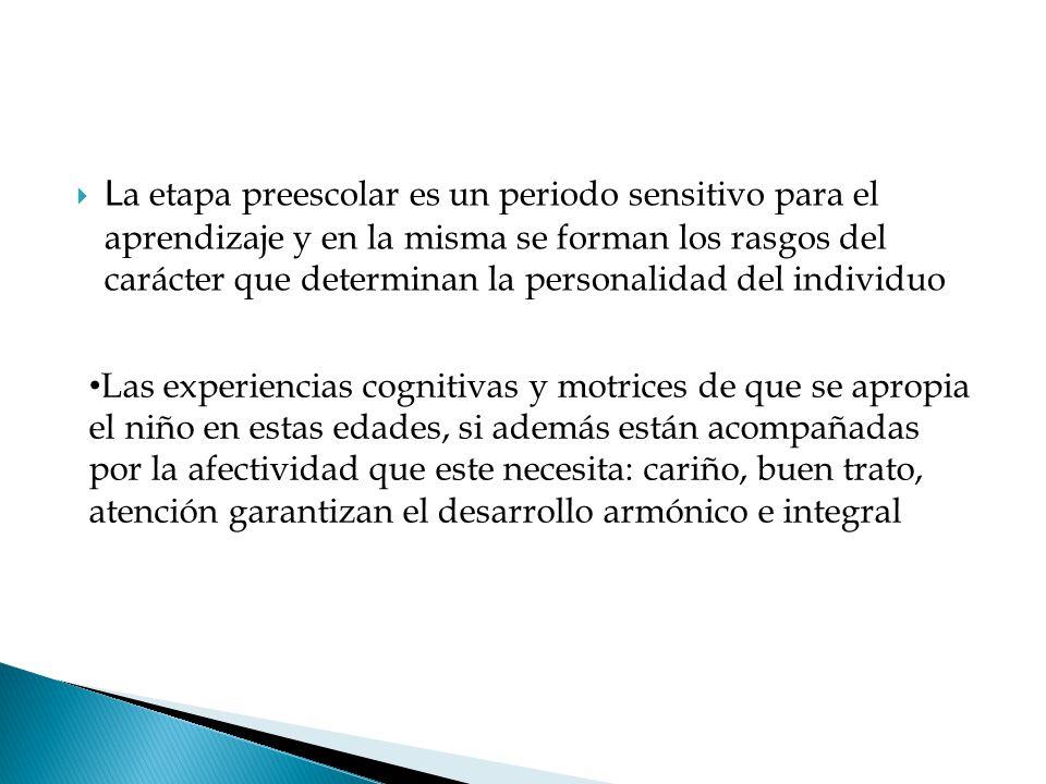  L a etapa preescolar es un periodo sensitivo para el aprendizaje y en la misma se forman los rasgos del carácter que determinan la personalidad del