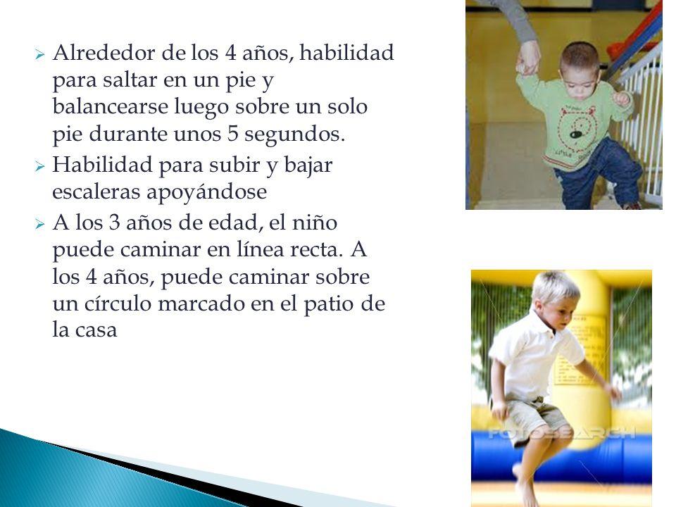  Alrededor de los 4 años, habilidad para saltar en un pie y balancearse luego sobre un solo pie durante unos 5 segundos.  Habilidad para subir y baj