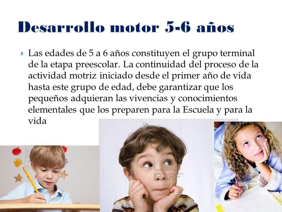  Las edades de 5 a 6 años constituyen el grupo terminal de la etapa preescolar. La continuidad del proceso de la actividad motriz iniciado desde el p