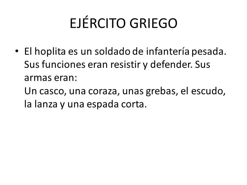 EJÉRCITO GRIEGO El hoplita es un soldado de infantería pesada.