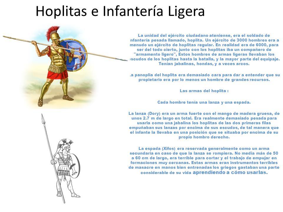 Hoplitas e Infantería Ligera La unidad del ejército ciudadano ateniense, era el soldado de infantería pesada llamado, hoplita.