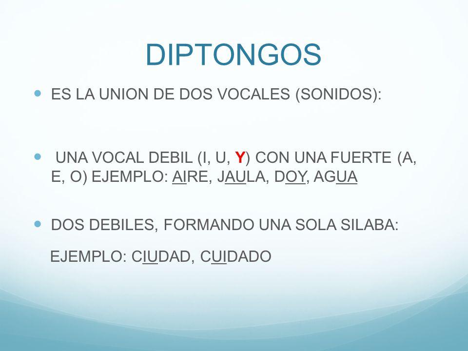 DIPTONGOS ES LA UNION DE DOS VOCALES (SONIDOS): UNA VOCAL DEBIL (I, U, Y) CON UNA FUERTE (A, E, O) EJEMPLO: AIRE, JAULA, DOY, AGUA DOS DEBILES, FORMANDO UNA SOLA SILABA: EJEMPLO: CIUDAD, CUIDADO