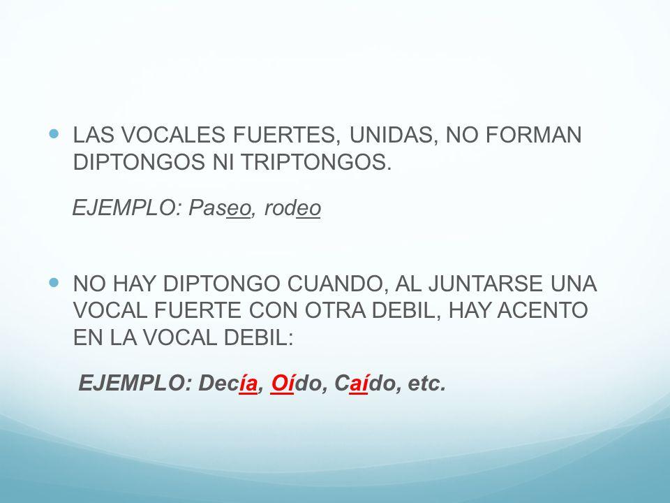 LAS VOCALES FUERTES, UNIDAS, NO FORMAN DIPTONGOS NI TRIPTONGOS.