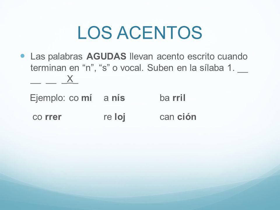 LOS ACENTOS Las palabras AGUDAS llevan acento escrito cuando terminan en n , s o vocal.