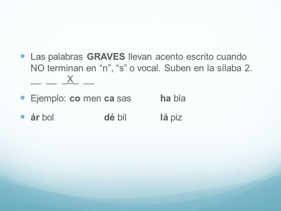 Las palabras GRAVES llevan acento escrito cuando NO terminan en n , s o vocal.