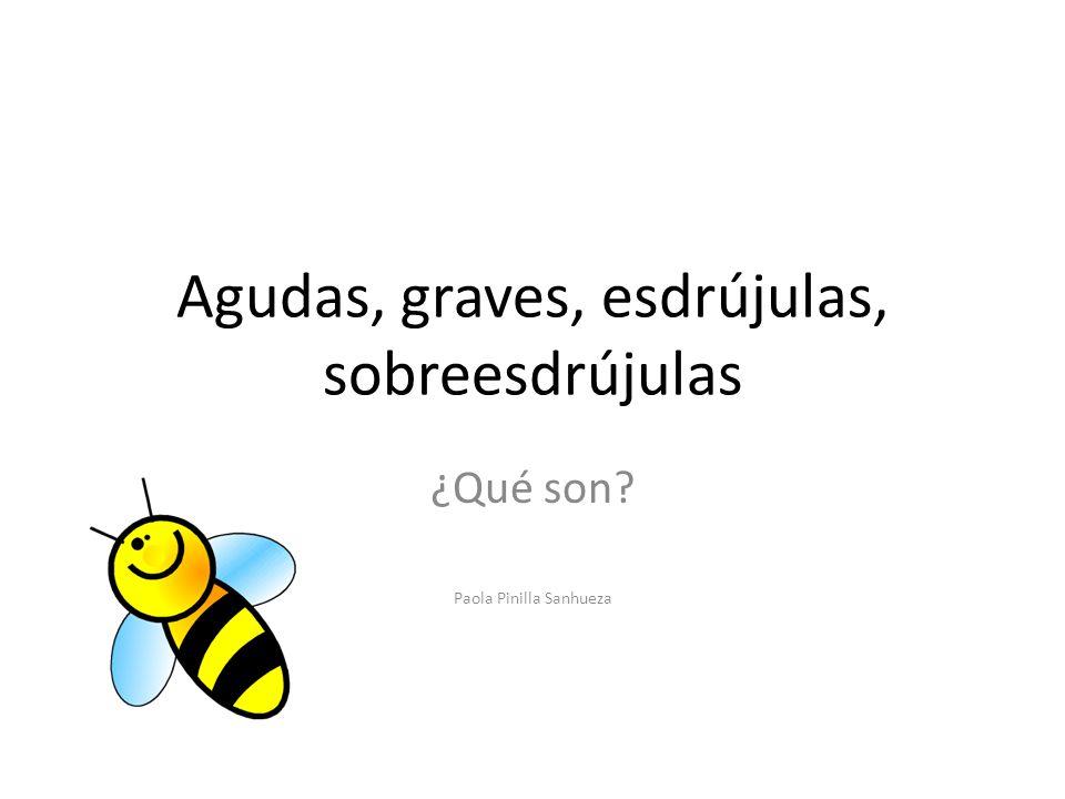 Agudas, graves, esdrújulas, sobreesdrújulas ¿Qué son? Paola Pinilla Sanhueza