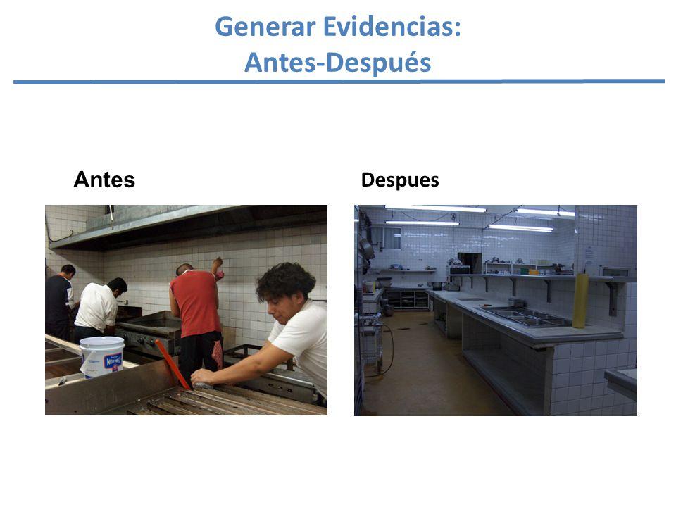 Generar Evidencias: Antes-Después Antes Despues