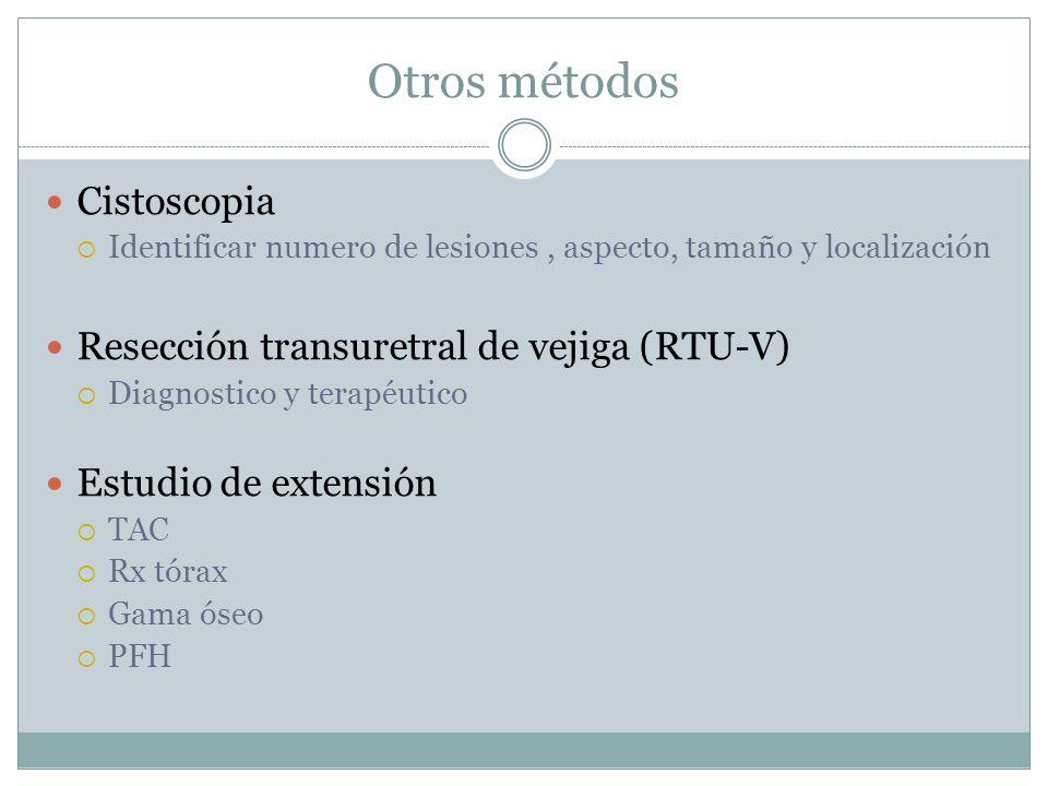 Otros métodos Cistoscopia  Identificar numero de lesiones, aspecto, tamaño y localización Resección transuretral de vejiga (RTU-V)  Diagnostico y te