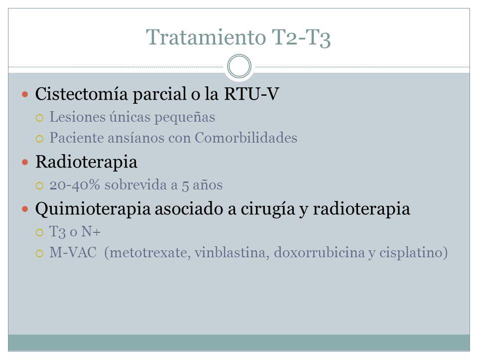 Tratamiento T2-T3 Cistectomía parcial o la RTU-V  Lesiones únicas pequeñas  Paciente ansíanos con Comorbilidades Radioterapia  20-40% sobrevida a 5