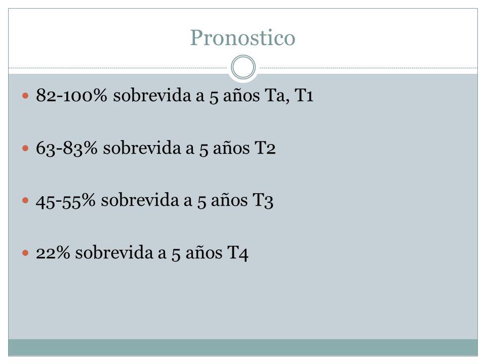 Pronostico 82-100% sobrevida a 5 años Ta, T1 63-83% sobrevida a 5 años T2 45-55% sobrevida a 5 años T3 22% sobrevida a 5 años T4