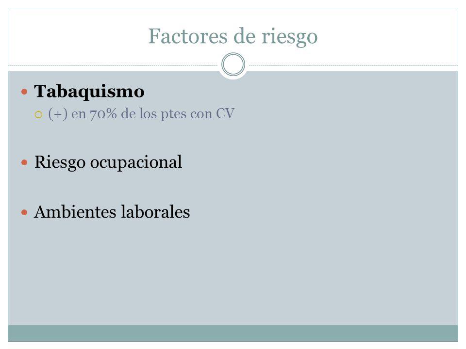 Tabaquismo  (+) en 70% de los ptes con CV Riesgo ocupacional Ambientes laborales