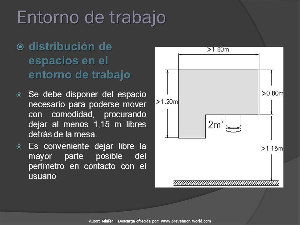 Autor: Mlafer – Descarga ofrecida por: www.prevention-world.com Entorno de trabajo  distribución de espacios en el entorno de trabajo  Se debe disponer del espacio necesario para poderse mover con comodidad, procurando dejar al menos 1,15 m libres detrás de la mesa.