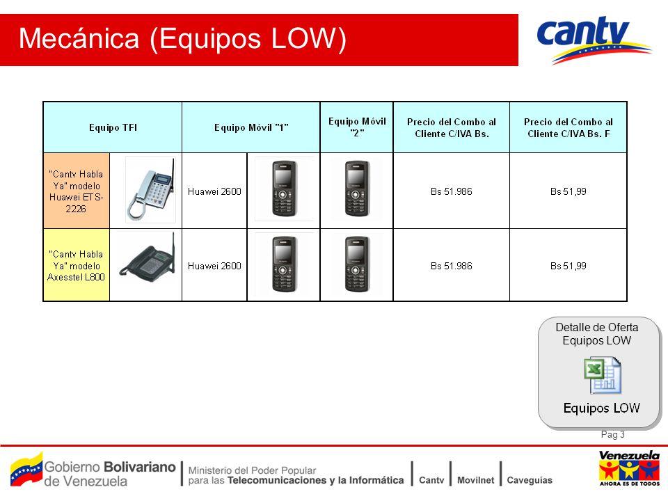 Pag 3 Mecánica (Equipos LOW) Detalle de Oferta Equipos LOW