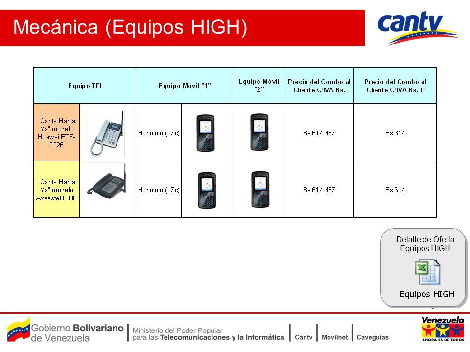 Pag 5 Mecánica (Equipos HIGH) Detalle de Oferta Equipos HIGH