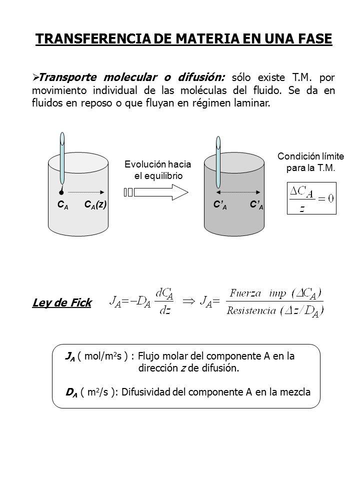  Transporte molecular o difusión: sólo existe T.M.