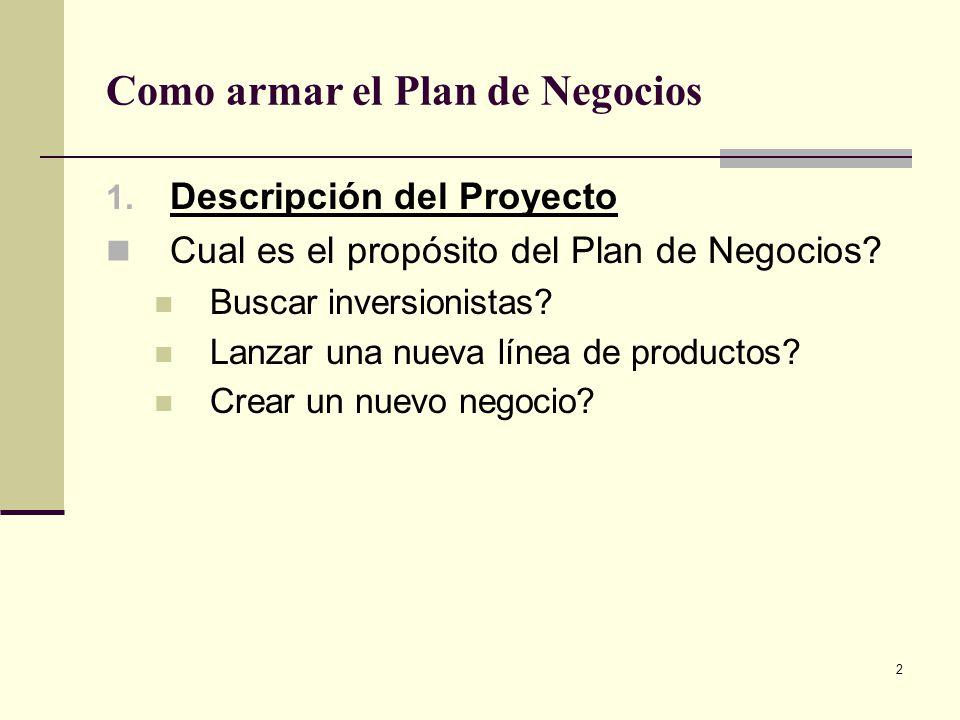 3 Como armar el Plan de Negocios 2.