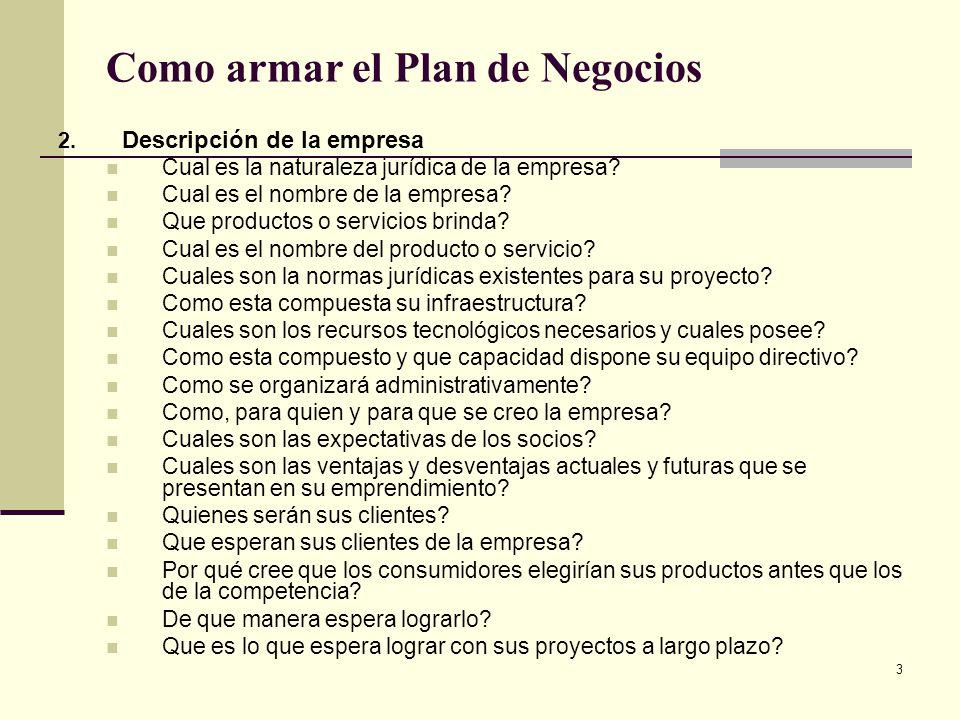 4 Como armar el Plan de Negocios 3.