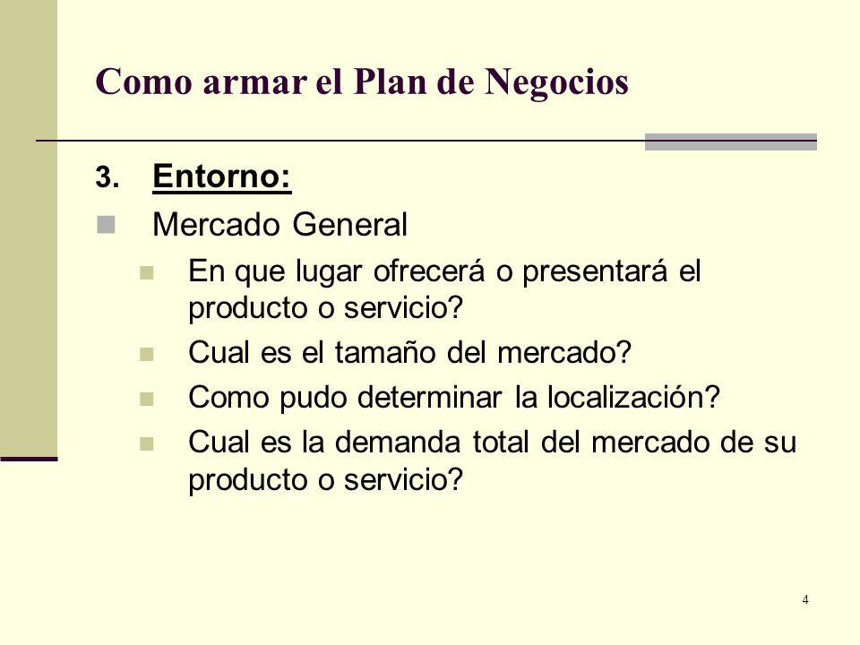 5 Como armar el Plan de Negocios 4.Clientes Quienes son los clientes potenciales.
