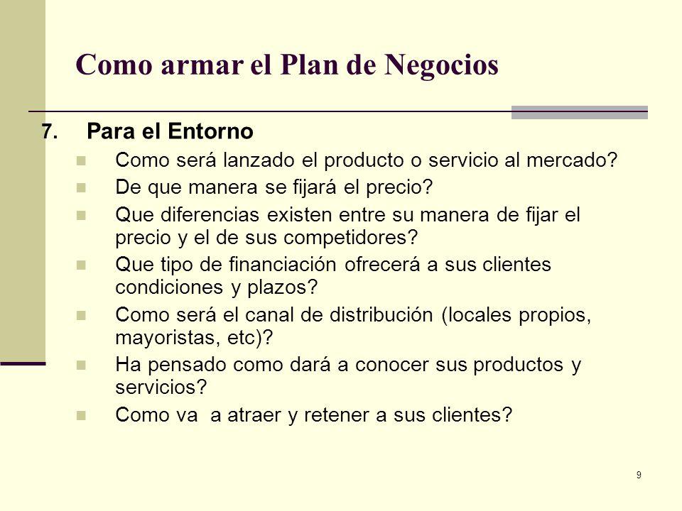 10 Como armar el Plan de Negocios 8.