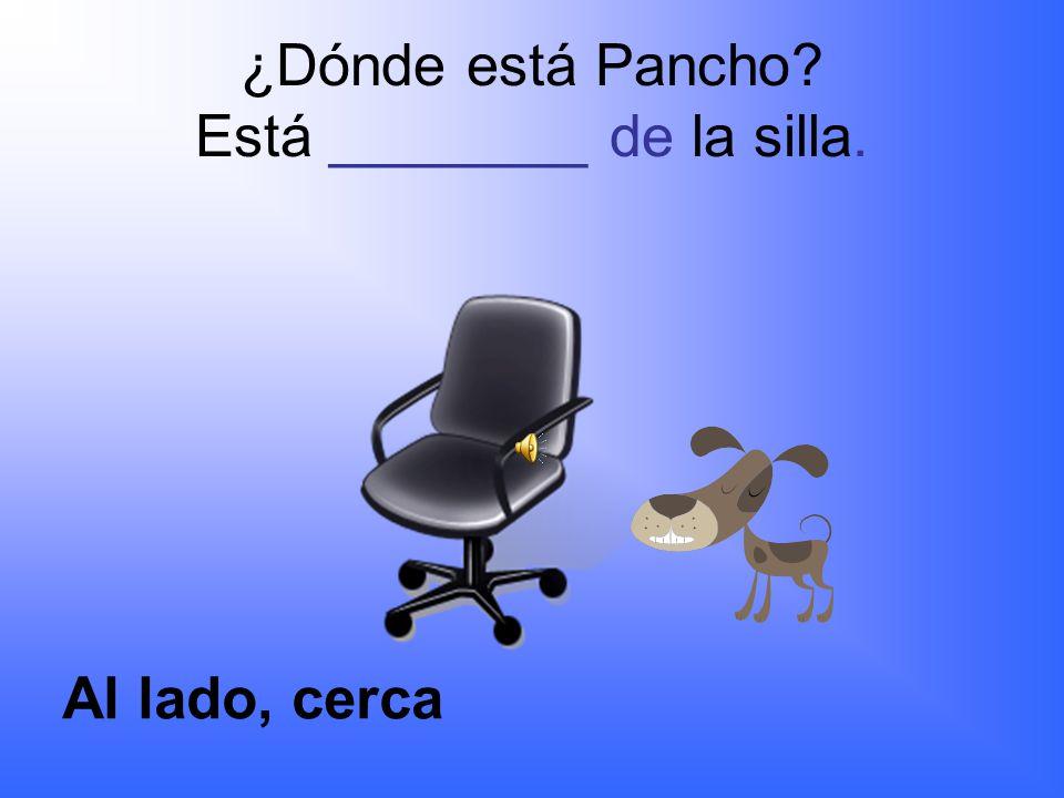 ¿Dónde está Pancho? Está ______ de la escuela. lejos