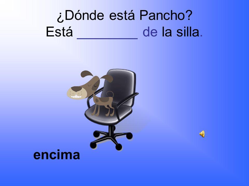 ¿Dónde está Pancho? Está ________ de la silla. Al lado, cerca