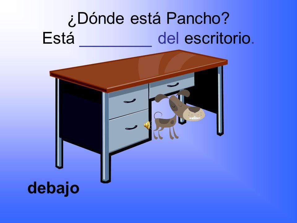 ¿Dónde está Pancho? Está ________ de la silla. encima
