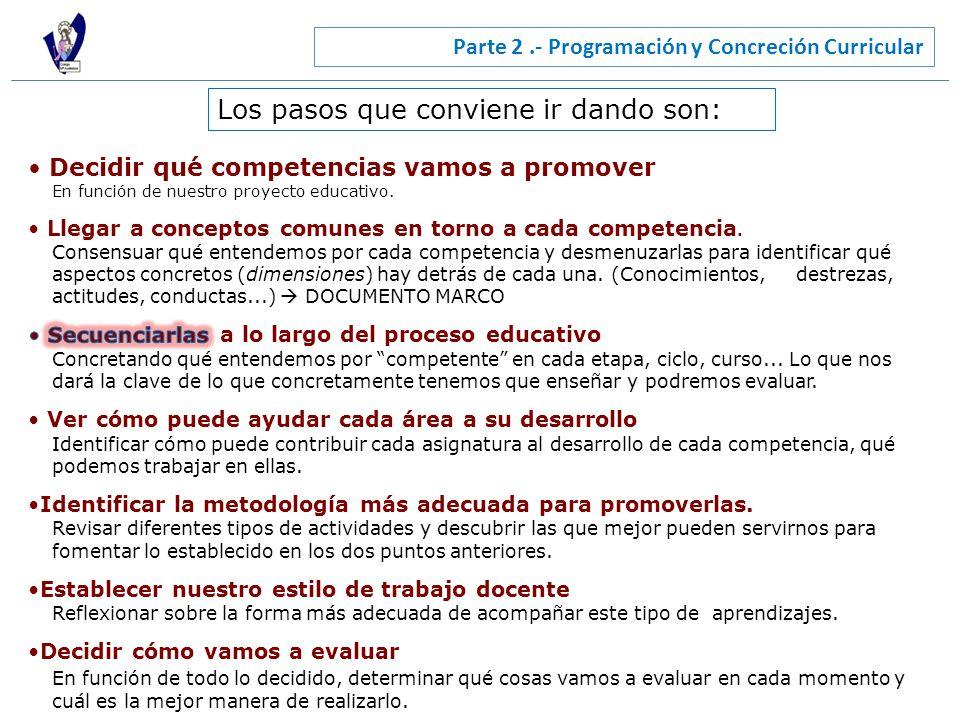 Parte 2.- Programación y Concreción Curricular Los pasos que conviene ir dando son: