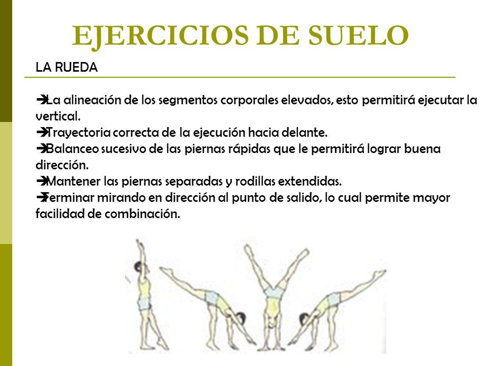 EJERCICIOS DE SUELO LA RUEDA  La alineación de los segmentos corporales elevados, esto permitirá ejecutar la vertical.