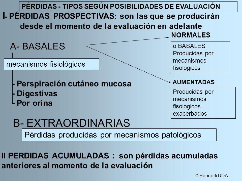 I - PÉRDIDAS PROSPECTIVAS : son las que se producirán desde el momento de la evaluación en adelante A- BASALES NORMALES B- EXTRAORDINARIAS - Perspiración cutáneo mucosa - Digestivas - Por orina AUMENTADAS mecanismos fisiológicos Pérdidas producidas por mecanismos patológicos PÉRDIDAS - TIPOS SEGÚN POSIBILIDADES DE EVALUACIÓN o BASALES Producidas por mecanismos fisologicos Producidas por mecanismos fisologicos exacerbados II PERDIDAS ACUMULADAS : son pérdidas acumuladas anteriores al momento de la evaluación C Perinetti UDA