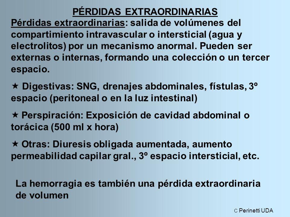 PÉRDIDAS EXTRAORDINARIAS Pérdidas extraordinarias: salida de volúmenes del compartimiento intravascular o intersticial (agua y electrolitos) por un mecanismo anormal.