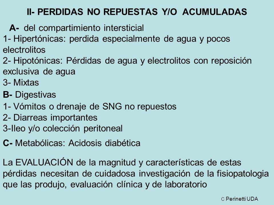 II- PERDIDAS NO REPUESTAS Y/O ACUMULADAS A- del compartimiento intersticial 1- Hipertónicas: perdida especialmente de agua y pocos electrolitos 2- Hipotónicas: Pérdidas de agua y electrolitos con reposición exclusiva de agua 3- Mixtas 1- Vómitos o drenaje de SNG no repuestos 2- Diarreas importantes 3-Ileo y/o colección peritoneal B- Digestivas C- Metabólicas: Acidosis diabética La EVALUACIÓN de la magnitud y características de estas pérdidas necesitan de cuidadosa investigación de la fisiopatologia que las produjo, evaluación clínica y de laboratorio C Perinetti UDA